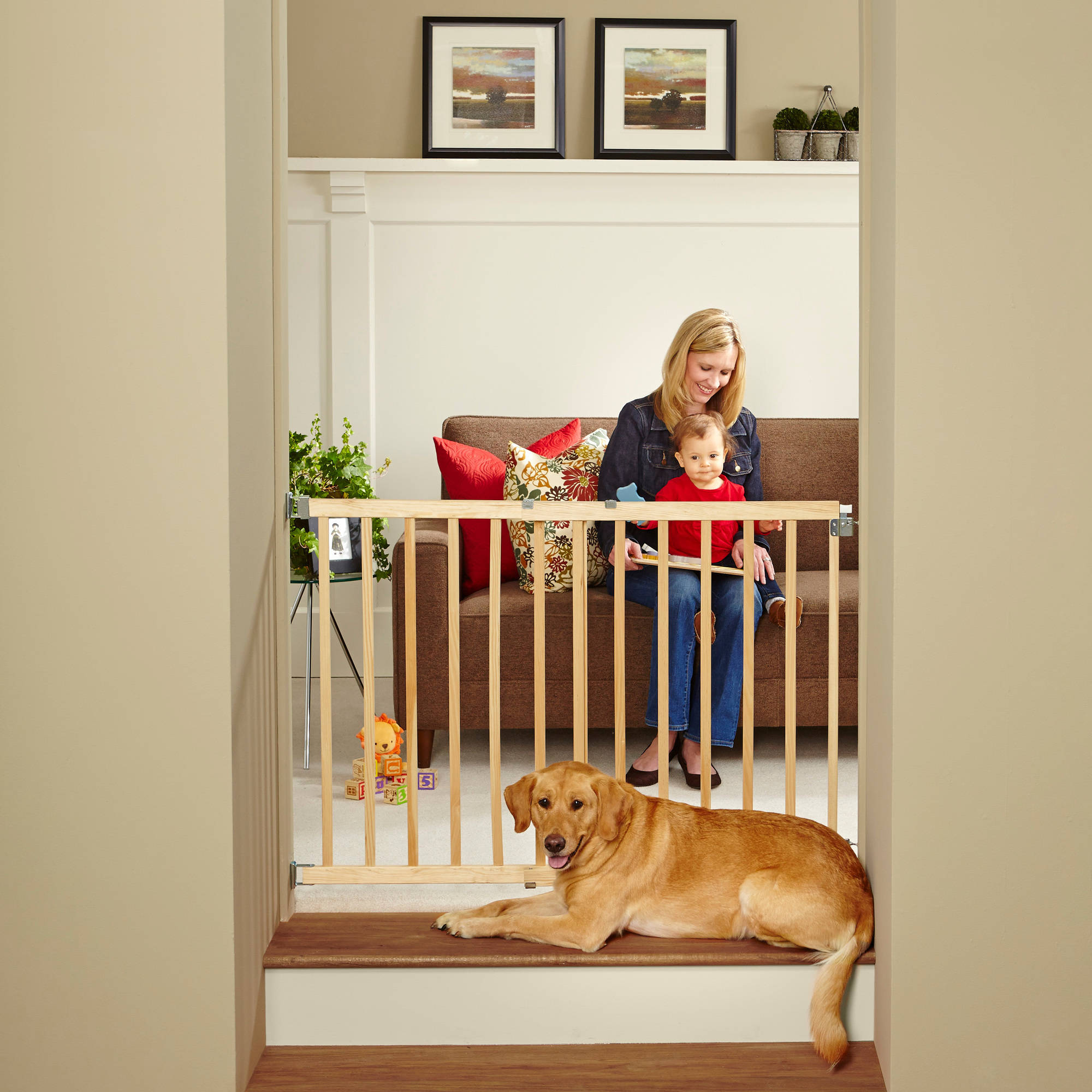 north states swing door baby gate  made with natural wood  - north states swing door baby gate  made with natural wood walmartcom