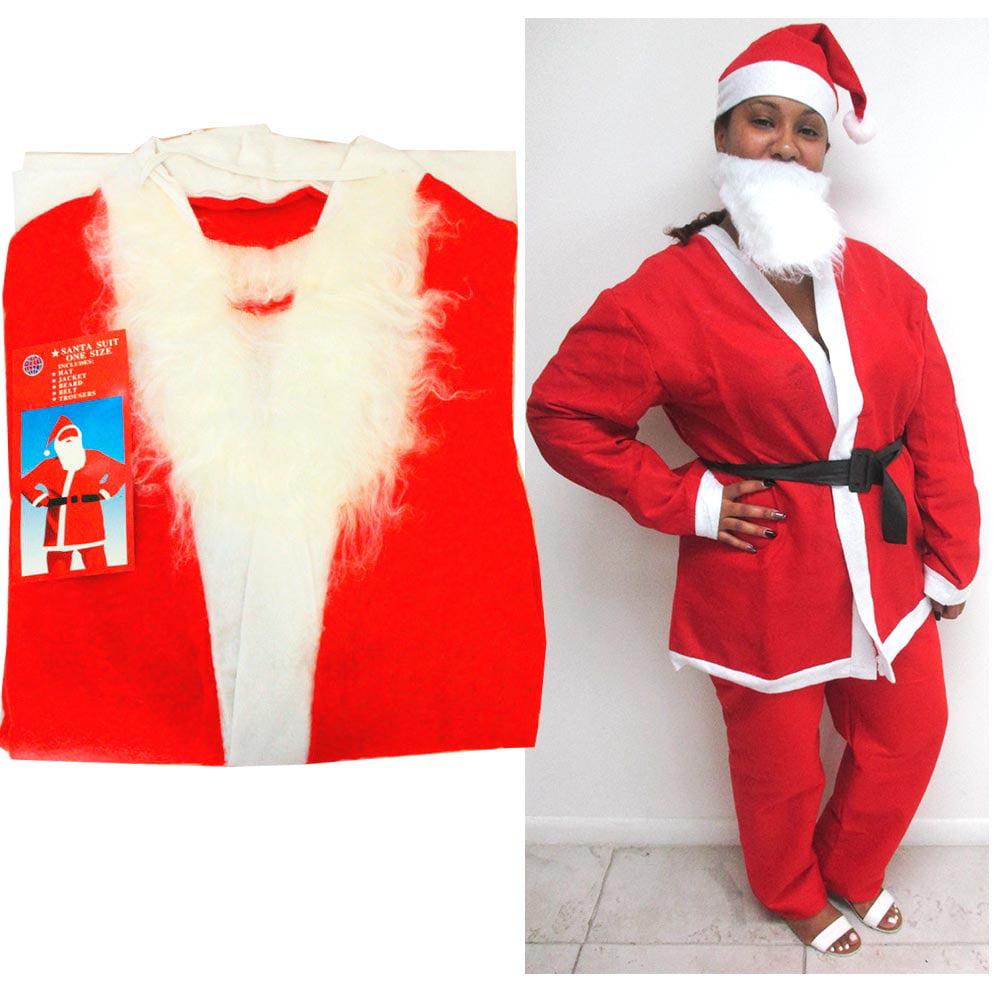 5Pc//Set Costume Christmas Adult Santa Claus Cloth Suit Outfit Pant Hat Coat Belt