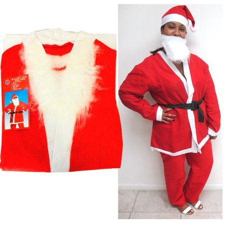 1 Santa Suit 5pc Set Christmas Santa Claus Costume Adult One Size Holiday Party