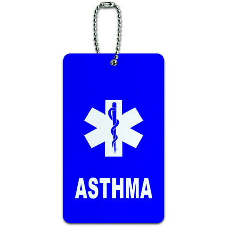 Asthma Medical Emergency Star of Life ID Tag Luggage Card for Suitcase or Carry-On Emergency Id Band