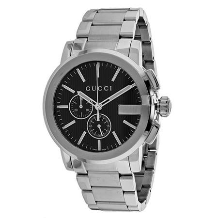 f638d509c34 Gucci - Gucci G-Chrono Black Dial Leather Strap Men s Watch YA101205 -  Walmart.com