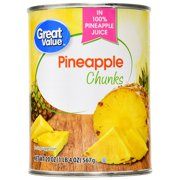 (3 Pack) Great Value Pineapple Chunks in 100% Juice, 20 oz