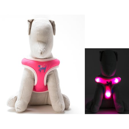 Light Up LED Dog Harness - Patented Light Up Comfort Harness for Puppies and Dogs - by Dog e Glow (Pink, large 20