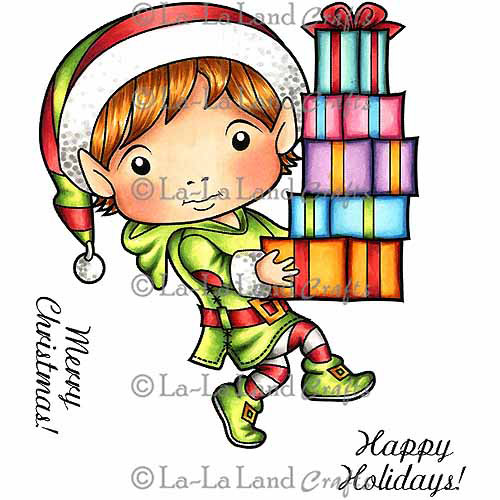 "La-La Land Cling Mount Christmas Stamp 4.5""X3.5""-Elf Luka"