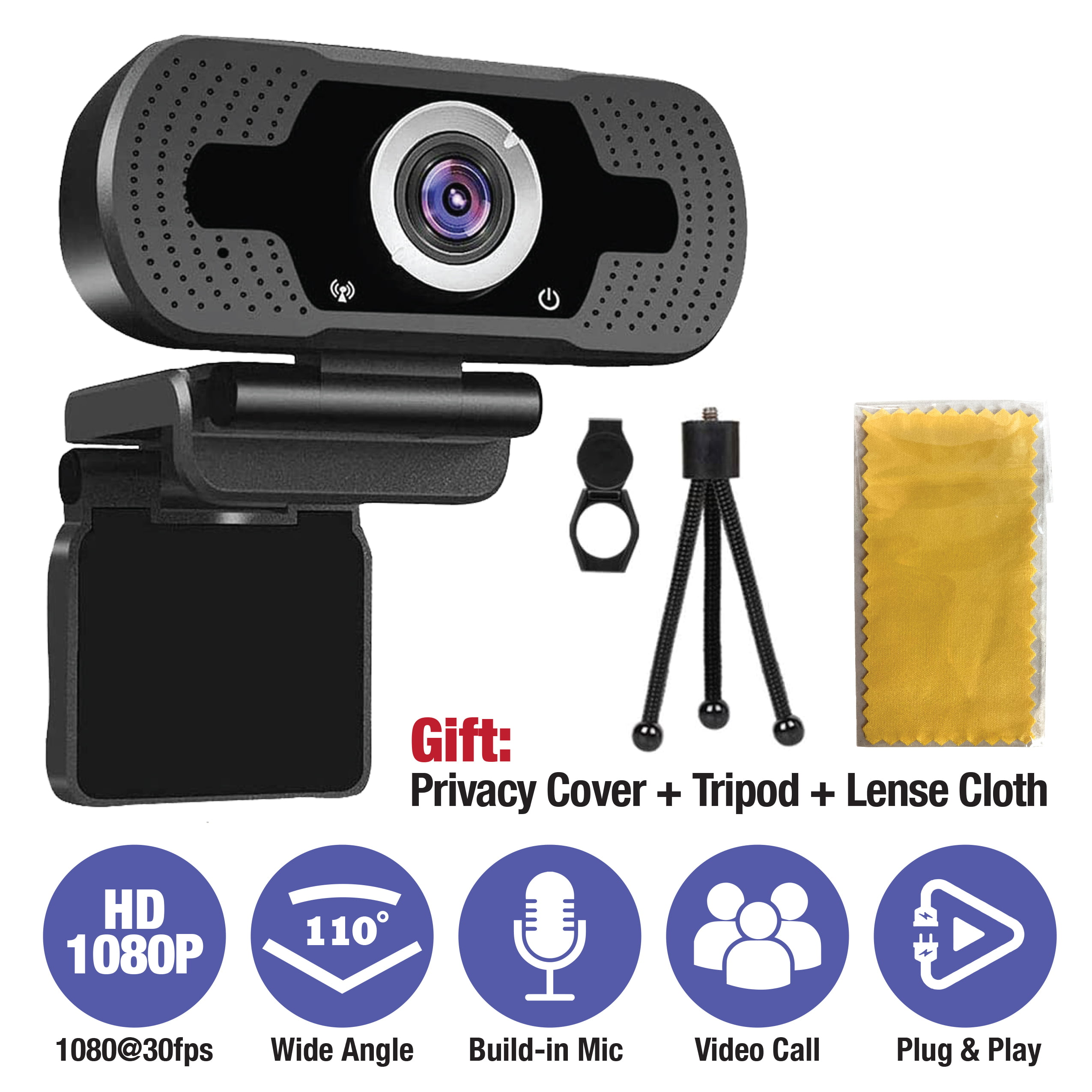 EverGrow 2020 1080P Webcam with Microphone & Privacy Cover and Tripod, 110-degree Wide Angle Widescreen USB HD Camera, Plug and Play, Laptop Computer Web Cam for Zoom YouTube Skype FaceTime( CAM-WEB-2MP)