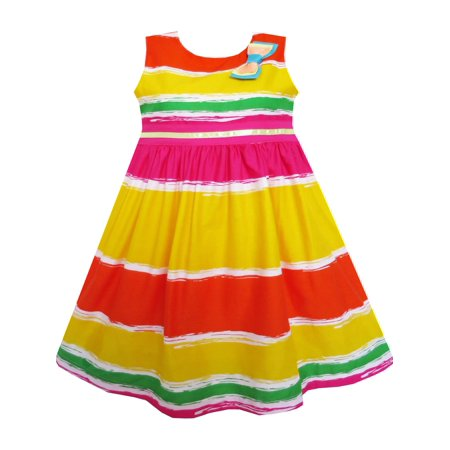 Girls Dress Bow Tie Orange Yellow Striped Tie Dye Style 3