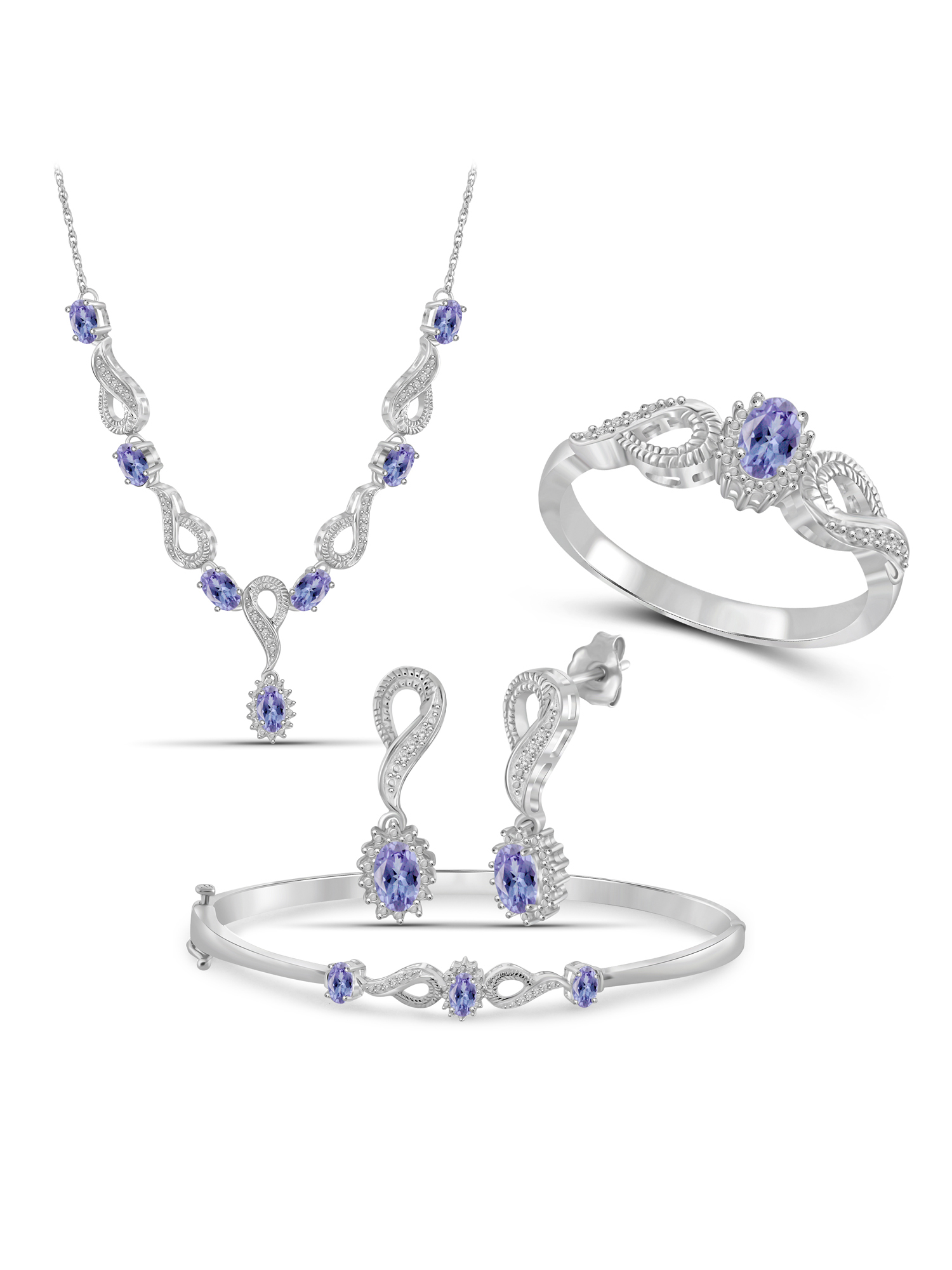 JewelersClub 3.00 Carat T.G.W. Tanzanite And White Diamond Accent Sterling Silver 4-Piece Jewelry set by JewelersClub