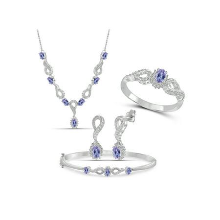 3.00 Carat T.G.W. Tanzanite And White Diamond Accent Sterling Silver 4-Piece Jewelry set 12 Piece Indian Bangle Set