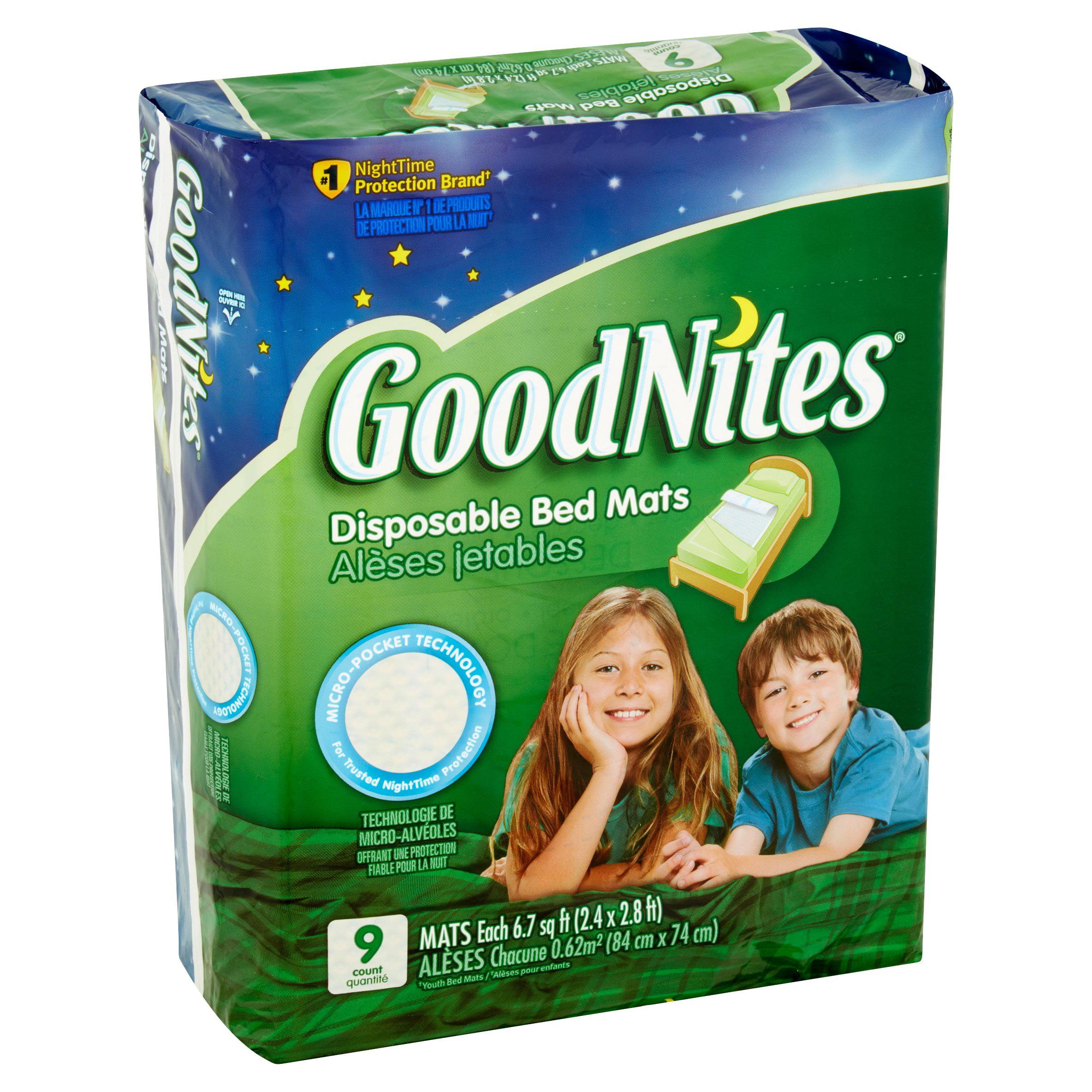 goodnites disposable bed mats 9 count walmart com