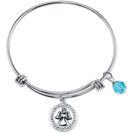 8mm Light Turquoise Crystal Stainless Steel Guardian Angel Watch Over Me Pave Charm Bead Bangle Bracelet, 8