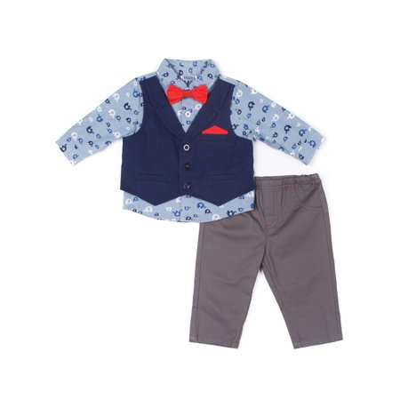 Vest, Elephant Printed Chambray Shirt, Twill Pants & Bowtie, 3pc Outfit Set (Baby Boys)