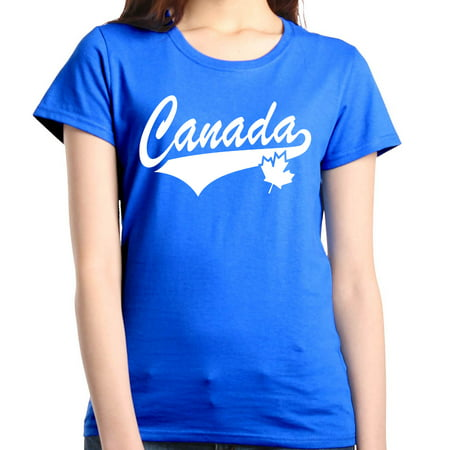 Shop4Ever Women's Canada White with Leaf Proud Canadian Flag Graphic T-Shirt
