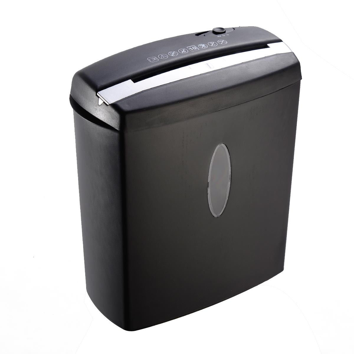 GHP 10-Sheet Capacity Black Cross Cut Paper Shredder w 3.96 Gallon Capacity Wastebin
