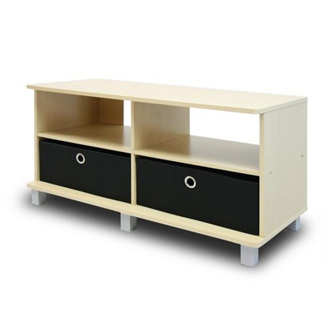 Entertainment Center with 2 Bin Drawers, Steam Beech & Black - 19 x 37.8 x 15.6 in.