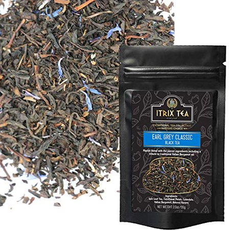 Itrix Earl Grey Classic Black Tea - Natural and Aromatic - Blends with Italian Natural Bergamot Oil - Brew as Hot or Iced Tea - Medium Caffeine - Healthy Coffee Substitute Tea Leaves