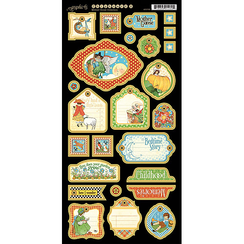 "Mother Goose Chipboard Die-Cuts 6""X12"" Sheet-Tags 2"