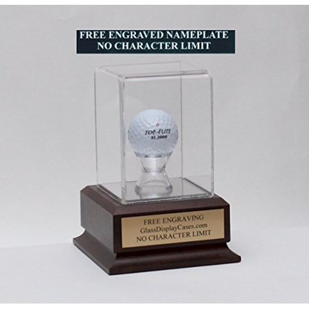 Golf Ball Personalized Hole in One - Eagle - Best Round - Game Acrylic Display Case with Cherry Finish Wood Platform Base & Free