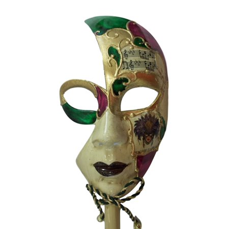 New Orleans Venetian Stick Mask Purple Gold Ladies