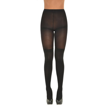 a11dbd22b MeMo Fashion - Womens Black Faux Thigh High Socks Tights Textured Pattern  Pantyhose combo - Walmart.com