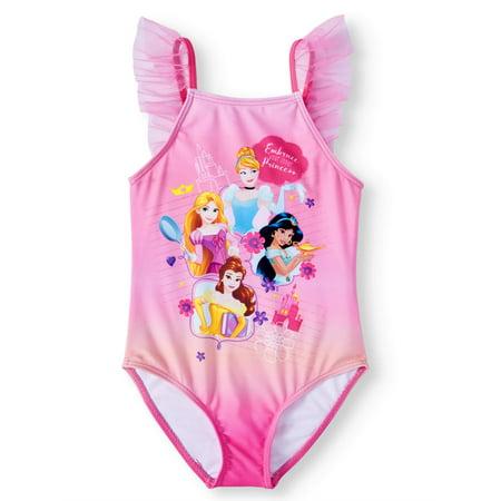 Cinderella, Jasmine, Belle and Rapunzel One-Piece Swimsuit (Little Girls)](Swimwear Girl)