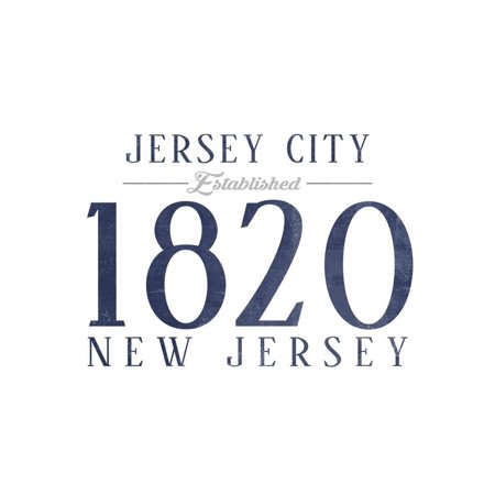 Jersey City, New Jersey - Established Date (Blue) Print Wall Art By Lantern Press - Halloween City Opening Date