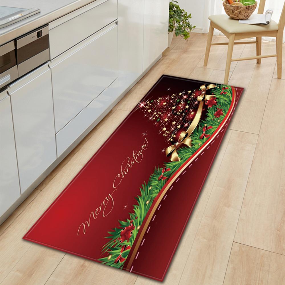 Anti-slip Floor Carpet Flannel Door Mat Kitchen Room Christmas Home Decor #cz