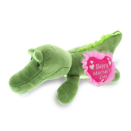 """DolliBu Happy Mother's Day Super Soft Plush Lying Alligator Figure - Cute Stuffed Animal with Pink Heart Message for Best Mommy, Grandma, Wife, Daughter - Cute Wild Life Plush Toy Gift - 6"""" Inches"""