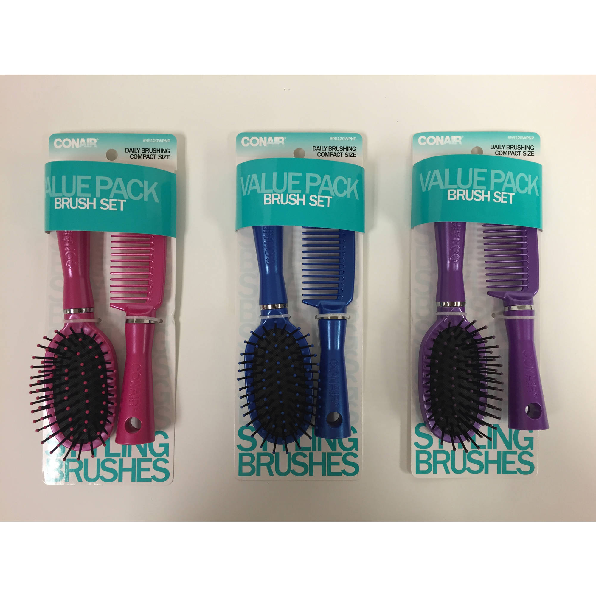 Conair Styling Essentials Brush and Comb Travel Set, Colors May Vary