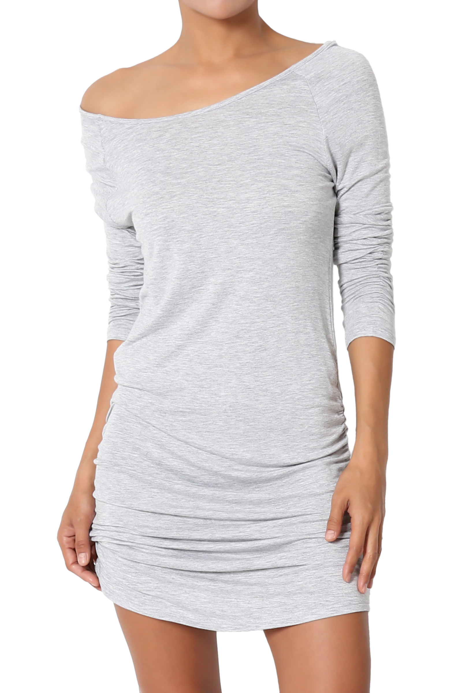 TheMogan Women's Boat Neck Long Sleeve Ruched Tunic Top Tee Dress Heather Grey L