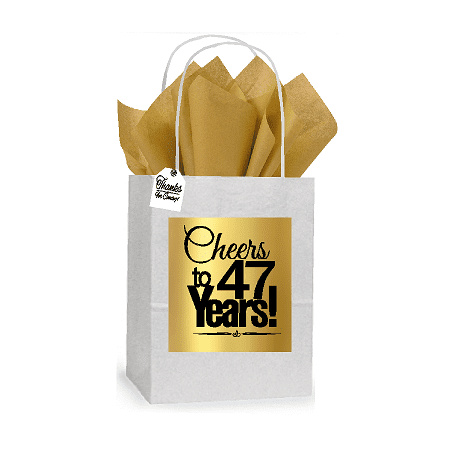 47th Cheers Birthday / Anniversary White and Gold Themed Small Party Favor Gift Bags Stickers Tags -12pack