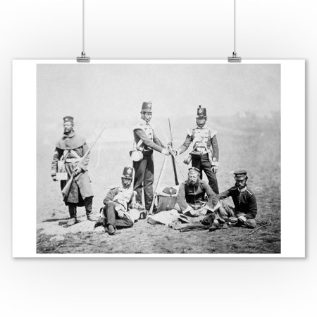 Soldiers Stand Rifles into Tripod Photograph (9x12 Art Print, Wall Decor Travel Poster) Tri Colour Photo