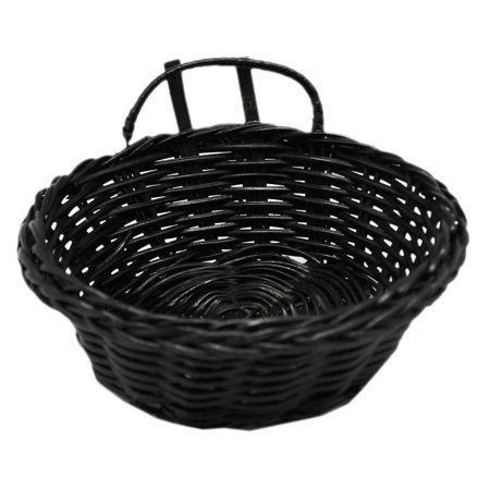 Miniature Round Black Colored Wicker Basket ()