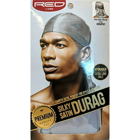 KISS Red Durag Silky Satin Gray Extra Long Tails  1 ea