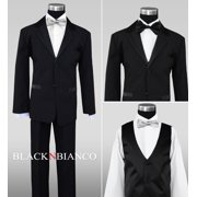 Black Boys Tuxedos with Silver Bow Tie
