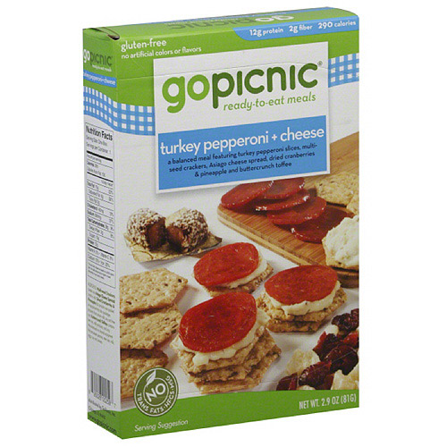 GoPicnic Turkey Pepperoni + Cheese Ready to Eat Meal, 3 oz, (Pack of 6)
