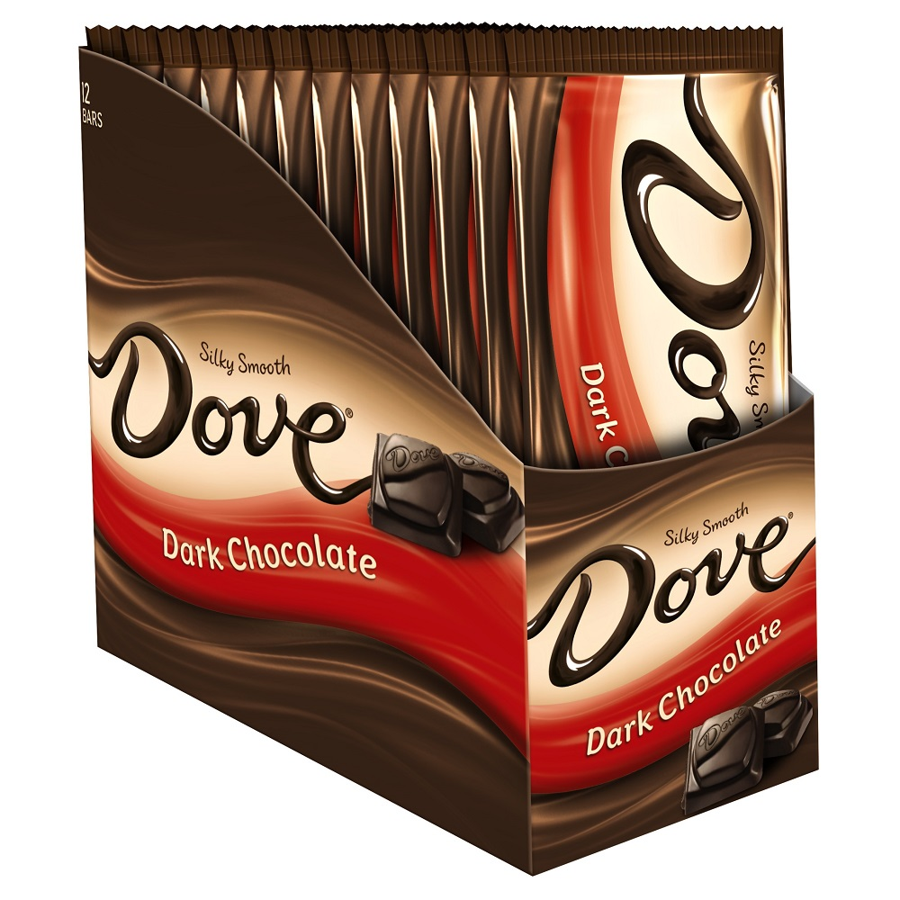 Dove Dark Chocolate Candy Bars, 3.30 Oz., 12 Count