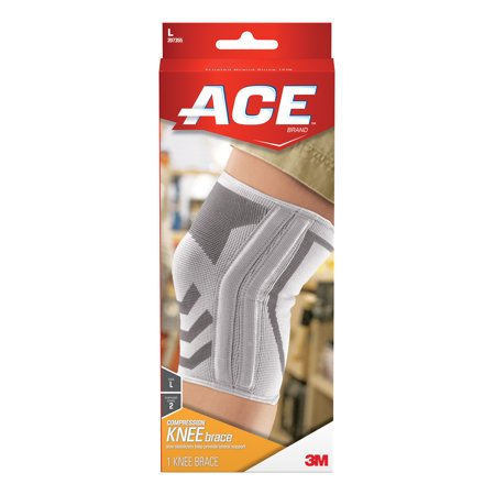 Ace Knitted Compression Knee Brace Featuring Side Stabilizers  Large  White Gray  1 Pack