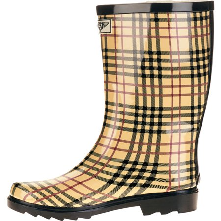 Forever Young Ladies Short Shaft Rain Boots Plaid (Best Boots For Short Skinny Legs)
