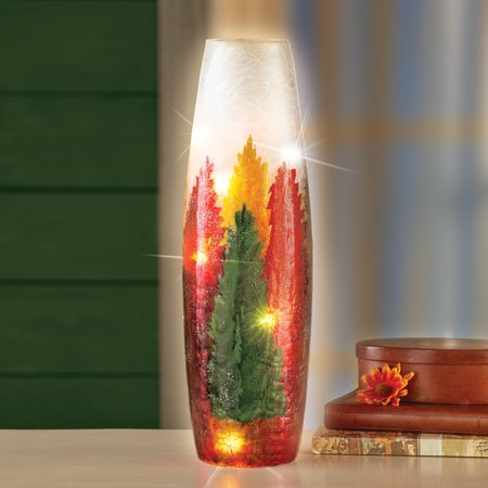 Glasses That Light Up (Collections Etc Autumn Foliage Glass Hurricane Lamp with LED Lights That Lights Up a Beautiful Scene of a Colorful Autumn)