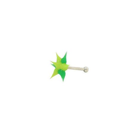 Nose Studs Green and Yellow Star Shape Spikes 18G