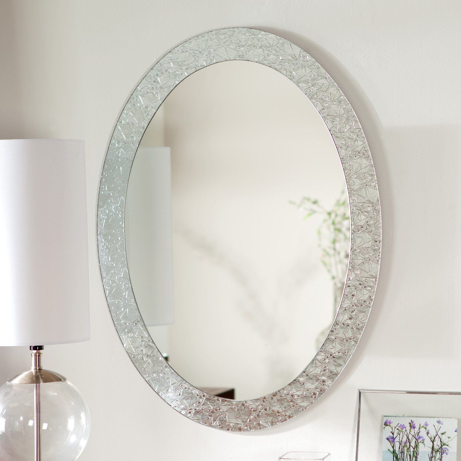 Décor Wonderland Frameless Crystal Wall Mirror 23.5W x 31.5H in. by Decor Wonderland of US