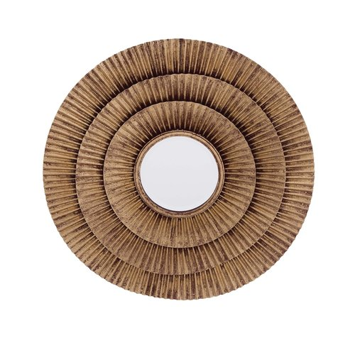 Classy Designed Metal Wall Round Mirror In Golden Finish by Benzara
