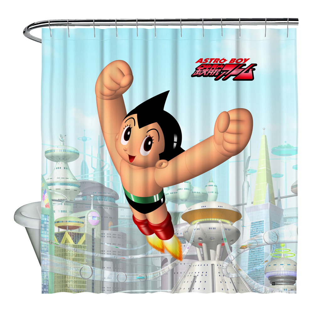 Astro Boy City Boy Shower Curtain White 71X74