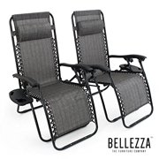 BELLEZZA� Premium Patio Chairs Zero Gravity Folding Recliner and Drink Tray, Set of 2, Gray by Belleze