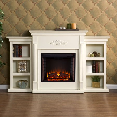 Southern Enterprises Griffin Electric Fireplace with Bookcases, Ivory - Southern Enterprises Griffin Electric Fireplace With Bookcases