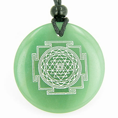 Sri Yantra Chakra Talisman Green Quartz Magic Pendant