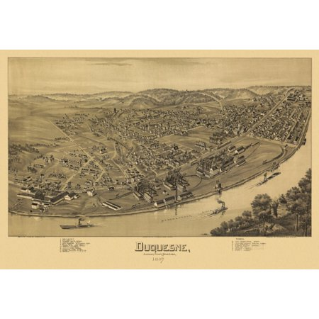 Old Map Of Duquesne Pennsylvania 1897 Allegheny County Canvas Art     36 X 54