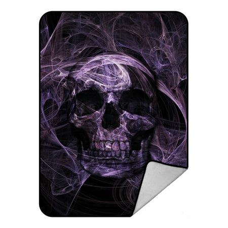 GCKG Purple Fluorescence Skull Fleece Blanket Crystal Velvet Front and Lambswool Sherpa Fleece Back Throw Blanket 58x80inches