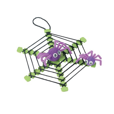 Fun Express - Yarn Spider Web W/spiders Craft Kit for Halloween - Craft Kits - Ornament Craft Kits - Non Foam - Halloween - 12 Pieces - Creatology Halloween Foam Kit