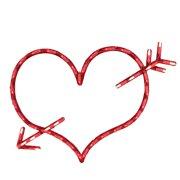 """17"""" Lighted Valentine's Day Heart with Arrow Window Silhouette"""